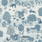 Grove by Makower UK - 6734 - Countryside Scenic, Blue on Off White   - 2159_B4 - Cotton Fabric